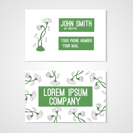 chamomiles: Design for business card with chamomiles. Corporate identity. Vector illustration. Illustration