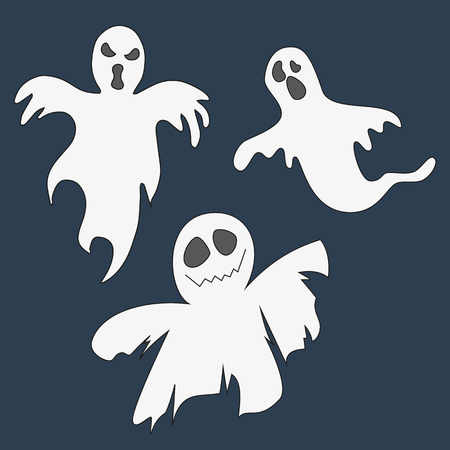 ghost: Collection of ghosts. Set of icons for Halloween. Vector illustration.