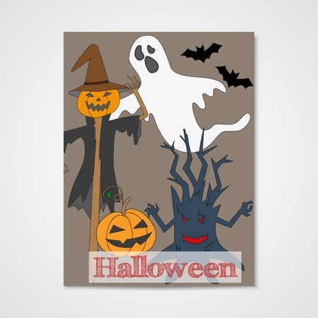 haloween: Card with hand drawn doodle scum - ghost, scarecrow, pumpkin and other. Invitation for Halloween party. Vector illustration. Illustration