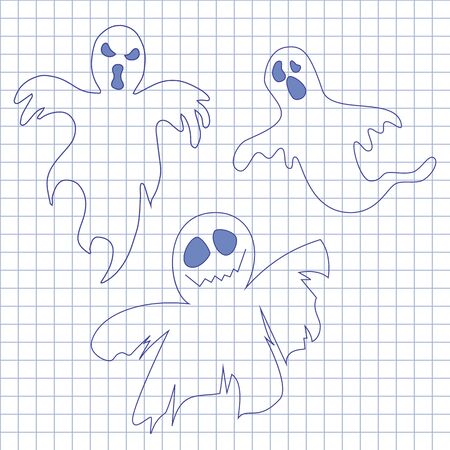 october 31: Collection of ghosts. Icons set for Helloween in notebook.  Illustration