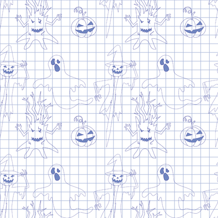 october 31: Seamless pattern with monsters in notebook.