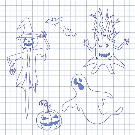 october 31: Collection icons for halloween on notebook.