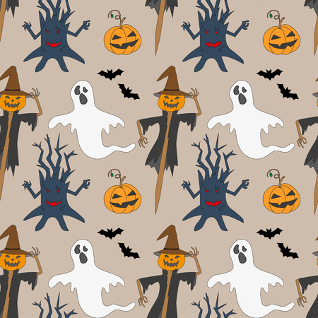 october 31: Seamless pattern with monsters. Print for Halloween. Vector illustration. Illustration
