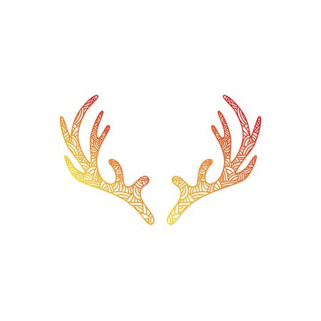 horny: Deer alers with abstract doodle pattern. Christmas collection. Vector illustration Illustration