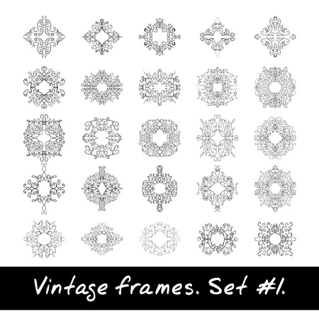 braiding: Set of round frames. Nine decorative elements for logo design with stripes braiding borders. Illustration