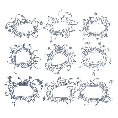 braiding: Set of round floral frames. Nine decorative elements for logo design with stripes braiding borders.