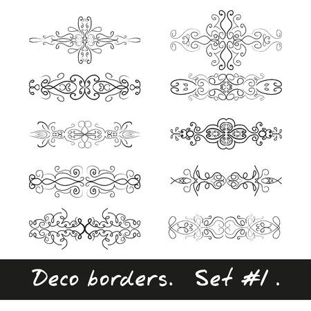 cliche: Ten decorative borders in white color. Set 1.  Vectores