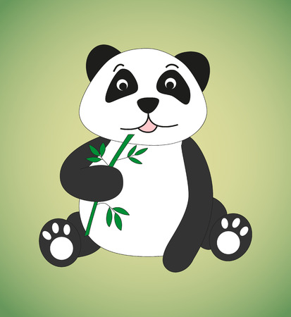 sprig: Panda with sprig of bamboo. Vector illustration.