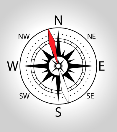 Wind rose compass icon. Vector illustration in black and with colors. Illustration