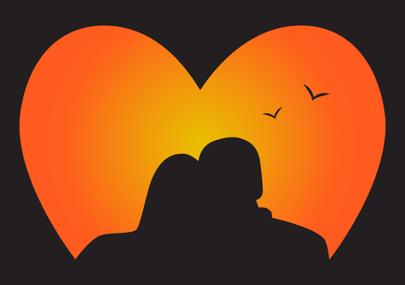 night view: Silhouette couple in Love, who look at the sunset. Vector illustration. Illustration