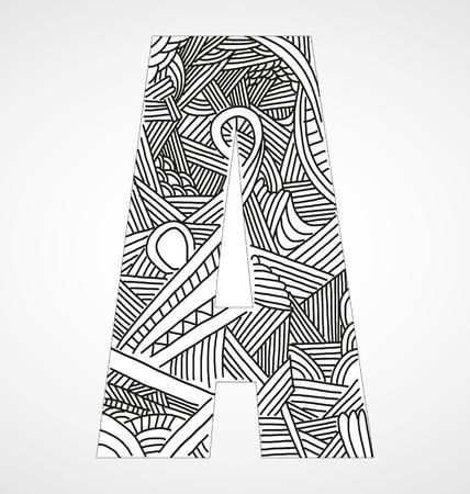 old letters: Letter A from doodle alphabet Illustration