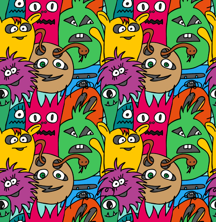 pattern monster: Doodle monsters seamless pattern. Colorful vector image Illustration