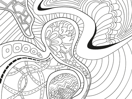 scaly: Abstract background with lines, wave and flowers in black and white colors. Vector illustration.