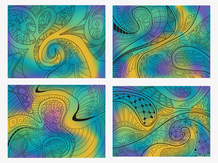 scaly: Set of four abstract background with lines, wave and flowers. Vector illustration.