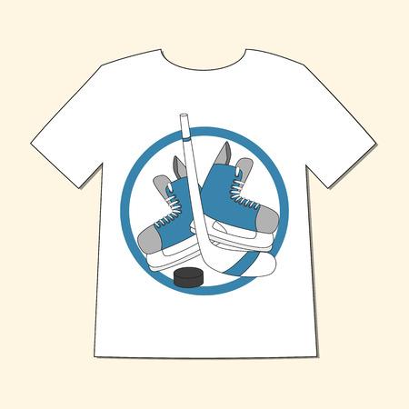 hockey skates: T-shirt with emblem hockey - skates, stick and puck. Hand drawn vector illustration.