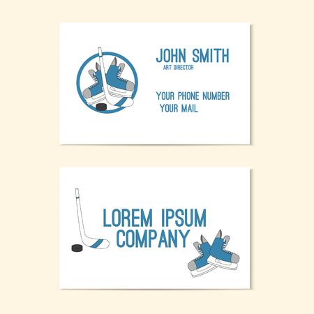hockey skates: Business card with emblem hockey - skates, stick and puck.  Hand drawn vector illustration.