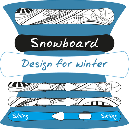 weekend activities: Design of winter sports equipment - ski and snowboard with abstract pattern. Hand drawn vector illustration. Illustration
