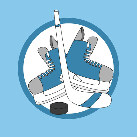 puck: Emblem hockey - skates, stick and puck. Hand drawn vector illustration.