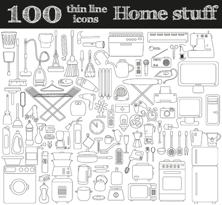 Home stuff icons. Set of 100 objects in thin line style. Vector illustration.