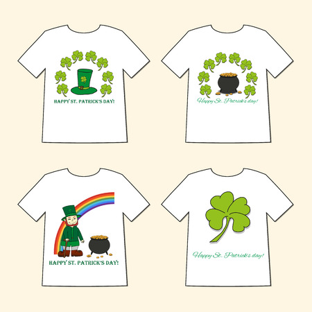 T-shirts with St. Patricks Day prints  - Leprechaun, Leprechauns hat, pot of gold and clover. Set of four illustration.