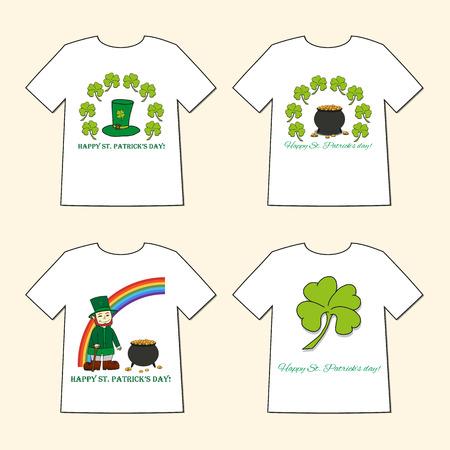 patrik: T-shirts with St. Patricks Day prints  - Leprechaun, Leprechauns hat, pot of gold and clover. Set of four illustration.