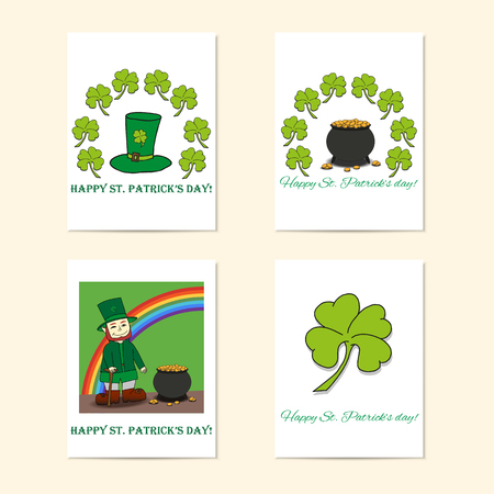 patrik day: St. Patricks Day posters - Leprechaun, Leprechauns hat, pot of gold and clover. Illustration