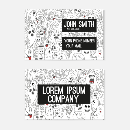 cutaway drawing: Business card template whit funny doodle monsters. Corporate identity.  Illustration in white and black colors.