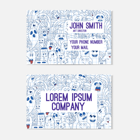 cutaway drawing: Business card template whit funny doodle monsters on notebook. Corporate identity. Illustration