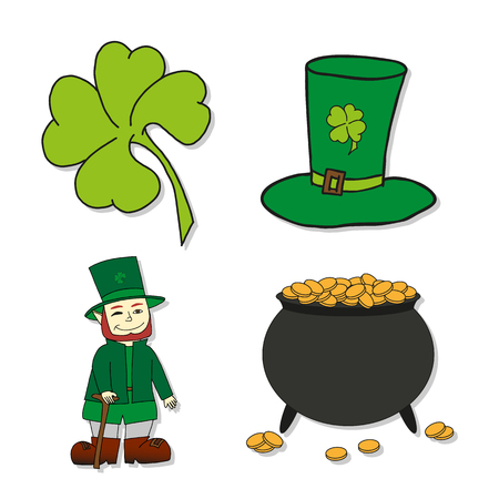 St. Patricks Day icons - Leprechaun, Leprechauns hat, pot of gold and clover. illustrations.