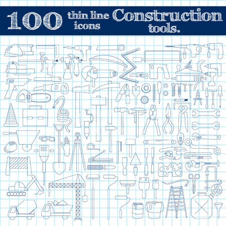 perpetrator: Construction icons - drill, perpetrator and other tools. Thin line set of 100 in blue colors on notebook. illustration.