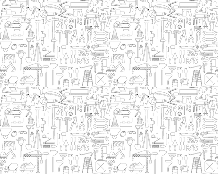 Seamless pattern with construction icons - drill, perpetrator and other tools. illustration in black and white colors.