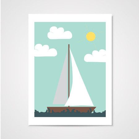 waterway: Poster with sailboat in the sea. Illustration in flat style Illustration