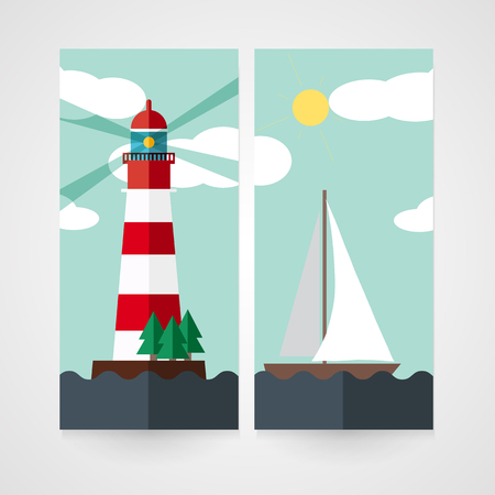 irish sea: Card with red beacon on island and sailboat in flat style
