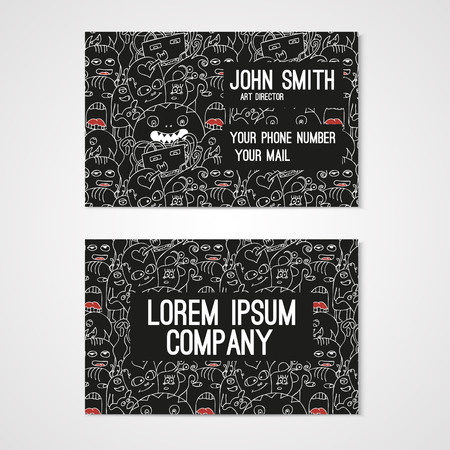 cute wallpaper: Business card template whit funny doodle monstes. Corporate identity.  Illustration in white and black colors.