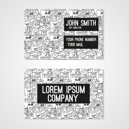 cutaway drawing: Business card template whit funny doodle monstes. Corporate identity.  Illustration in white and black colors.