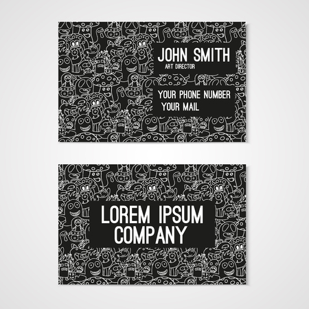 whit: Business card template whit funny doodle monstes. Corporate identity.  Illustration in white and black colors.