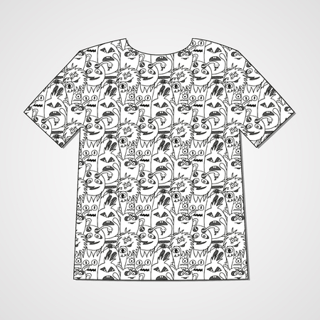 Abstract  hand drawn doodle monsters. Colorful print on a T-shirt.