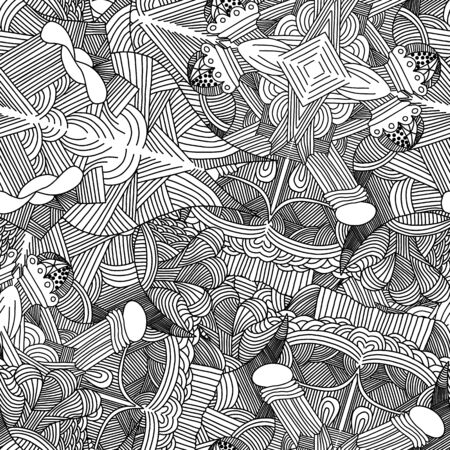 hand pencil: Abstract seamless pattern with hand drawn doodle pattern. Vector illustration.