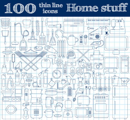 Home stuff icons. Set of 100 thin line objects in blue colors on notebook. Vector illustration.