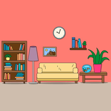 flower lamp: Design of room - sitting room with sofa, lamp, bookcase, shelf with books, table with flower and aquarium, picture and clock. Vector illustration for interior. Illustration