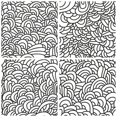 ruffle: Set of four seamless patterns. Monochrome backgrounds with linear doodles, scales, diagonal waves, hand drawn graphics made with graphics tablet. Vector Illustration.