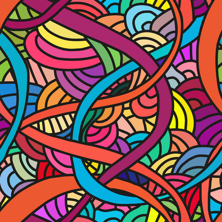 ruffle: Abstract seamless patterns. Bright backgrounds with linear doodles, scales, diagonal waves, hand drawn graphics made with graphics tablet. Vector Illustration. Illustration