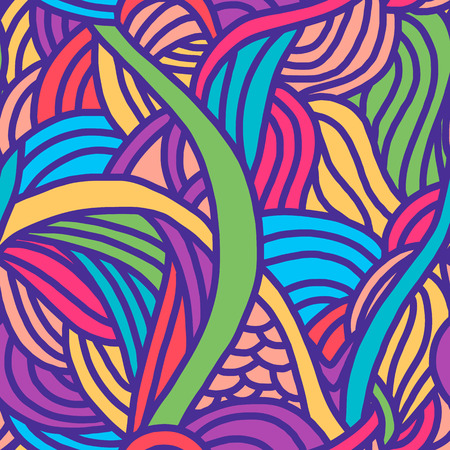 Abstract seamless patterns. Bright backgrounds with linear doodles, scales, diagonal waves, hand drawn graphics made with graphics tablet. Vector Illustration. Illustration