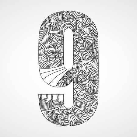 number icons: Number 9 with hand drawn abstract doodle pattern.