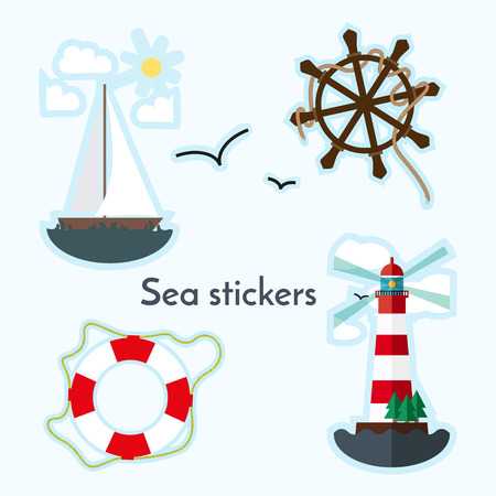Set of sea object - lighthouse, sail boat, ship wheels  and lifebouy. Stikers in flat style. Иллюстрация