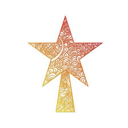 christmas tree illustration: Toys on christmas tree - star. Christmas collection. Zentangle stylized vector illustration.
