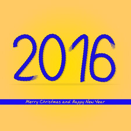 rope vector: Happy new year 2016. 2016 of rope. Vector design element.