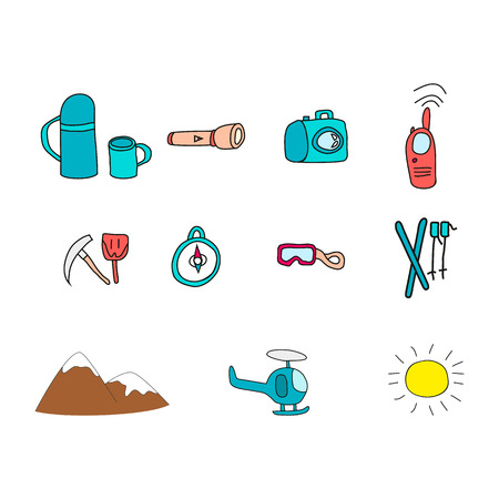 Icons with object for ski vacation. Vector illustration. Illustration