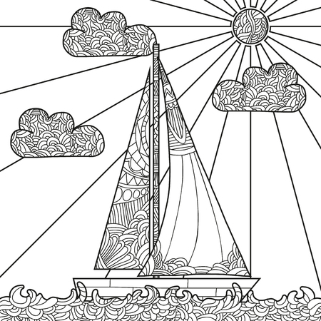 Doodle boat floating on the waves. Can be used for coloring book page design, anti stress hobby for adult. Vector black and white illustration.