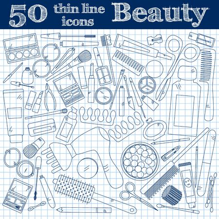 rouge: Tools for makeup. Set of 50 cosmetic icons in thin line  on noteboook. Vector collection for beauty design. Illustration